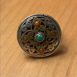 Sterling and brass filigree ring